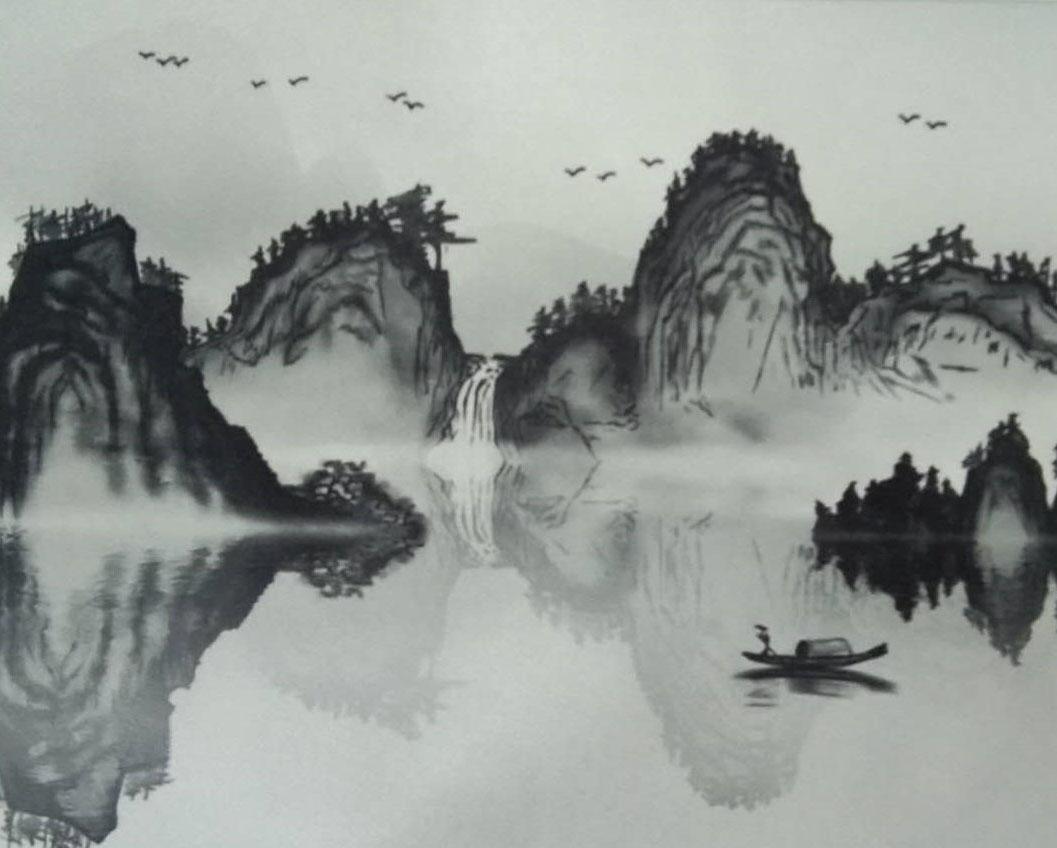 山水倒影夹画